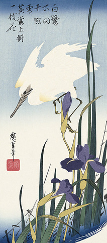 White Heron and Blossoming Irises
