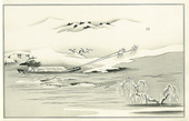 "Towing a Boat in Snow, Illustration from the Kyoka Album ""Ginsekai""(Silver World)"